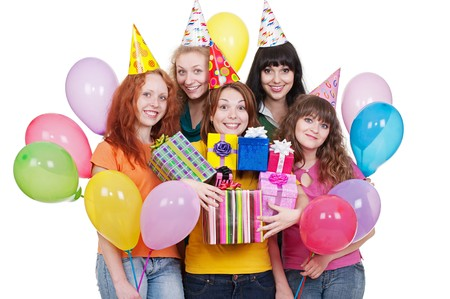 portrait of happy women with gifts and balloons. isolated on white background Stock Photo - 7348630