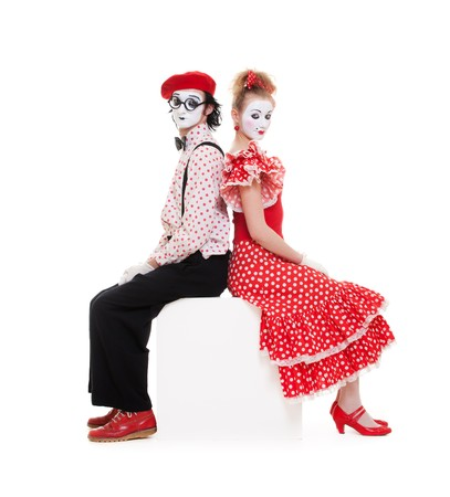 portrait of beautiful couple mimes. isolated on white  photo