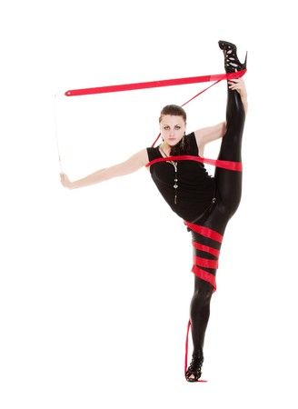 portrait of flexible woman with red ribbon. isolated on white Stock Photo - 7348576
