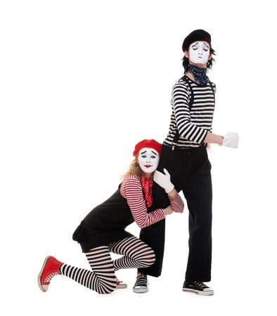 portrait of mimes. isolated on white background photo