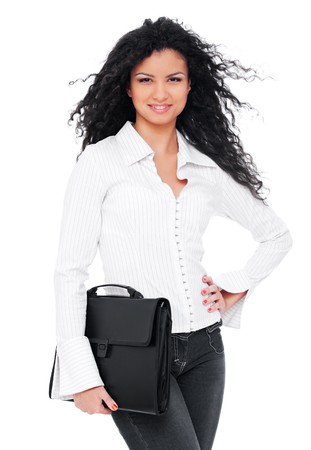 assured: assured businesswoman with briefcase. isolated on white background