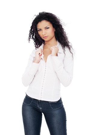 attractive brunette in shirt posing against white background Stock Photo - 7827861