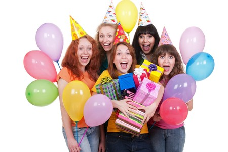 portrait of happy girls with boxes and balloons photo