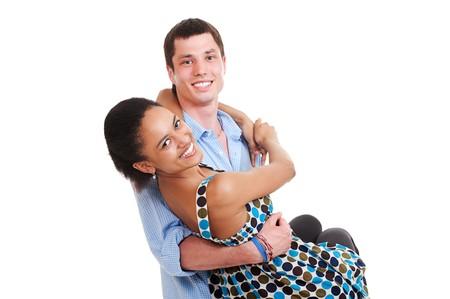portrait of happy smiley couple. isolated on white background  photo