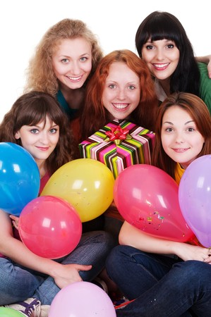 portrait of happy women with balloons. isolated on white background  photo