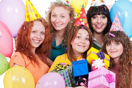portrait of happy women with gifts and balloons. isolated on white background  photo