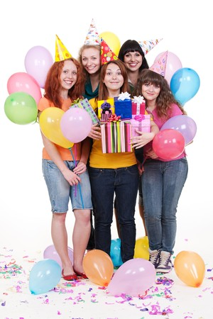 portrait of joyful women with gifts and balloons. isolated on white background  photo
