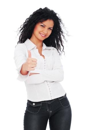 smiley pouce: femme anim�e appara�tre pouces. isol� sur fond blanc