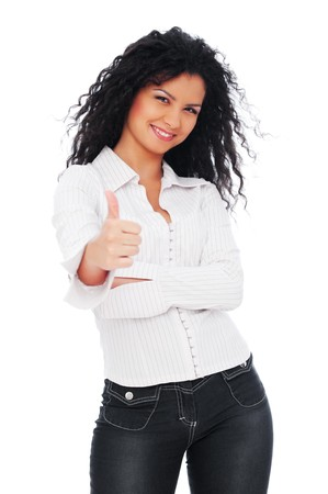 frizzy hair: lively woman showing thumbs up. isolated on white background