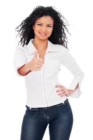 frizzy hair: lively woman showing thumbs up. isolated on white background Stock Photo