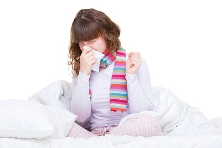 afflict: young woman in the bed with flu  Stock Photo