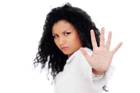femme graves montrant négation. isolé sur fond blanc Banque d'images