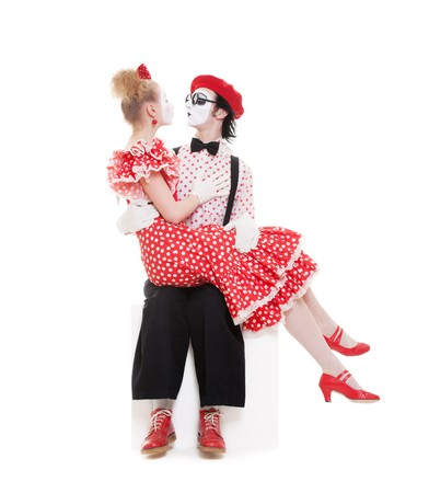 two beloved mimes. isolated on white background photo