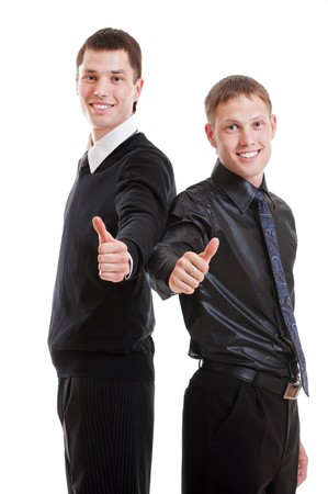 portrait of two prosperous young businessmen. isolated on white background Stock Photo - 7827903