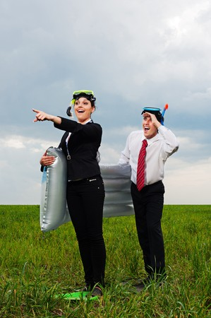 two business people going to vacation. concept Stock Photo - 8129827