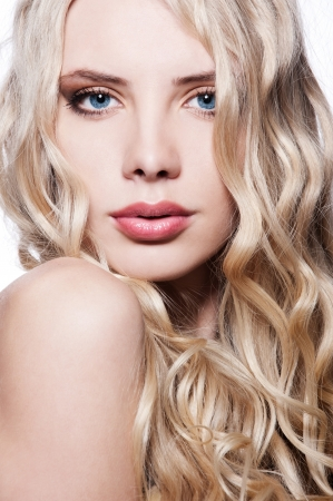 close-up portrait of beautiful blonde with curly hair Stock Photo - 8176551