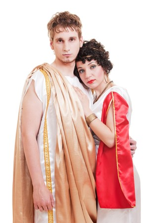 portrait of couple in Greek style. isolated on white background  Stock Photo - 8129773
