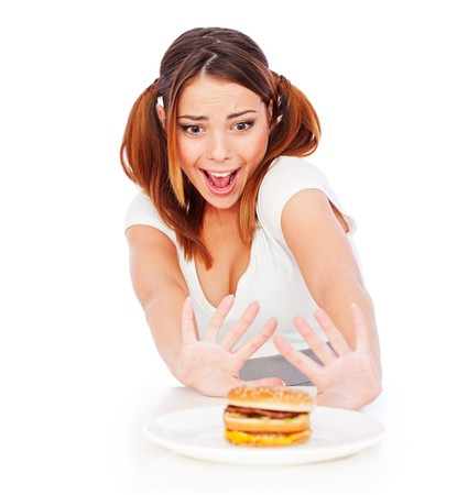 portrait of emotional woman with burger. isolated on white background Stock Photo