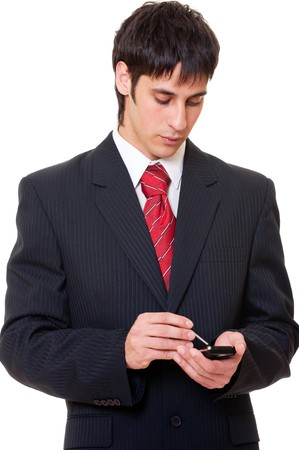 portrait of serious businessman with palmtop  photo