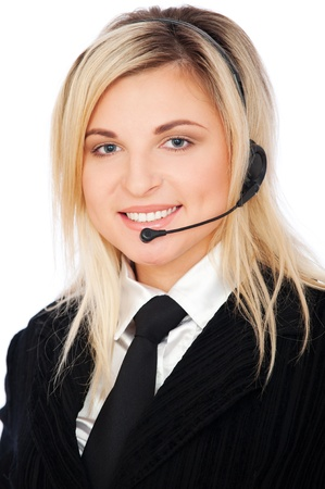 portrait of smiley telephone operator isolated on white Stock Photo - 8655317
