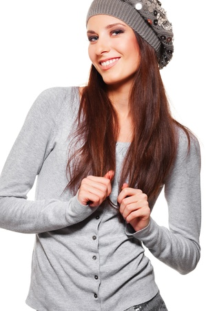 portrait of beautiful smiley woman in hat  photo