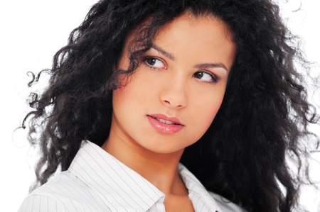 portrait of pretty woman with curly hair over white background photo