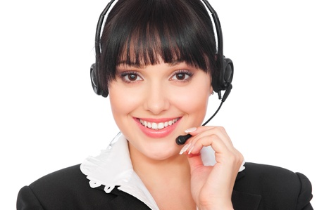 portrait of smiley telephone operator over grey background  Stock Photo - 8895028