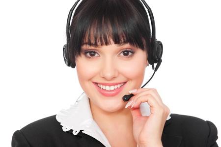 portrait of smiley telephone operator over grey background Stock Photo - 8895028
