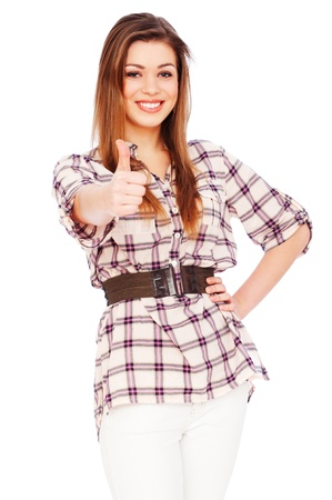 portrait of friendly woman showing thumbs up photo