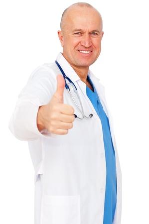 smiley pouce: Portrait du docteur en m�decine smiley montrant thumbs up