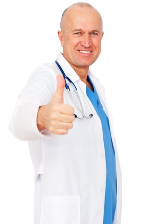 thumbsup: portrait of smiley medical doctor showing thumbs up