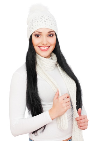 portrait of beautiful smiley woman in white hat  photo