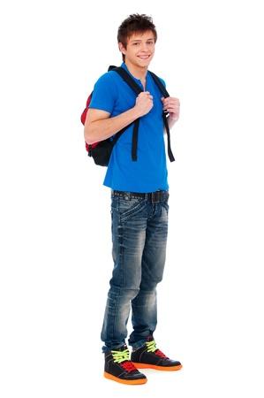 knapsack: full-length portrait of happy guy with knapsack