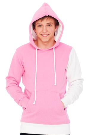 sweatshirt: Portr�t des Smiley Kerl in rosa Sweatshirt. isolated on white background