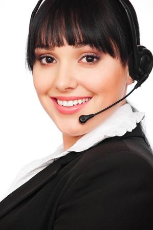 portrait of smiley telephone operator over white background  Stock Photo - 8972560