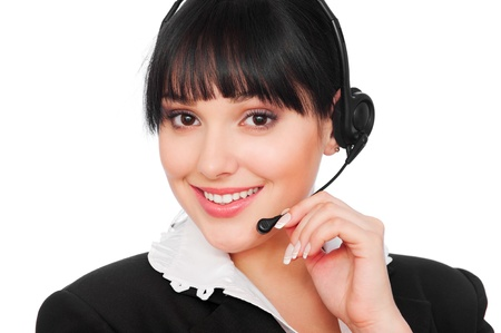 portrait of smiley telephone operator over white background  Stock Photo - 8984406
