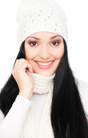 portrait of smiley woman with long hair in hat photo