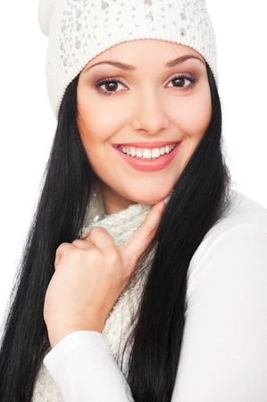 portrait of smiley woman with long hair photo
