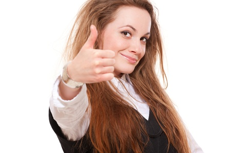 happy beautiful girl showing thumbs up over white background  photo