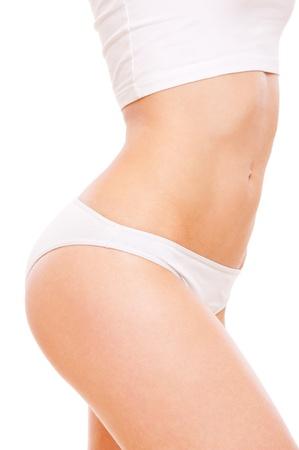 wit ondergoed: mooie gezonde het lichaam vrouw in wit ondergoed Stockfoto