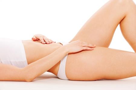 wit ondergoed: mooie vrouwelijke lichaam in wit ondergoed Stockfoto