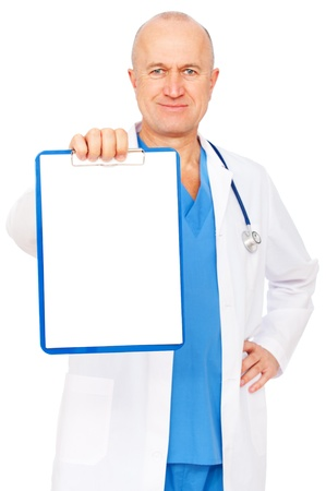 portrait of doctor holding empty clipboard  photo