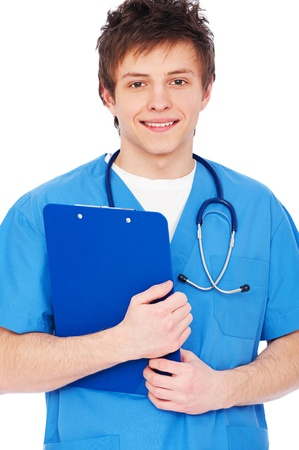 portrait of young smiley nurse boy with stethoscope Stock Photo - 9487567