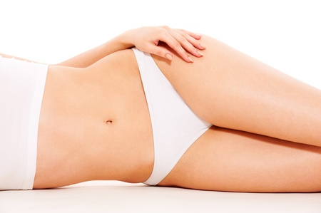 beautiful womans body in white underwear  photo