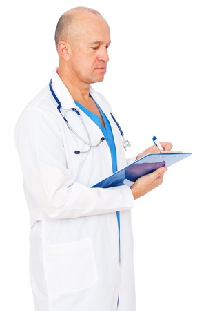 serious doctor: serious doctor writing report over white background