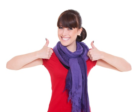 portrait of happy woman showing thumbs up photo