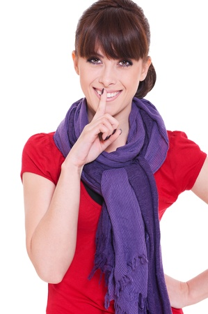 pretty woman making silence sign over white background  photo