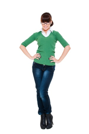 full-length portrait of smiley woman in jeans. isolated on white background Stock Photo - 9757293
