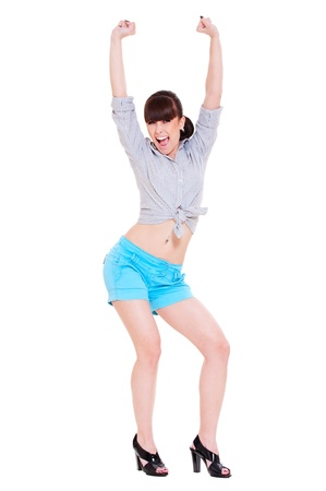 portrait of very happy woman with her raised arms Stock Photo - 9763716