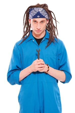 screw key: workman with screw key. isolated on white background Stock Photo